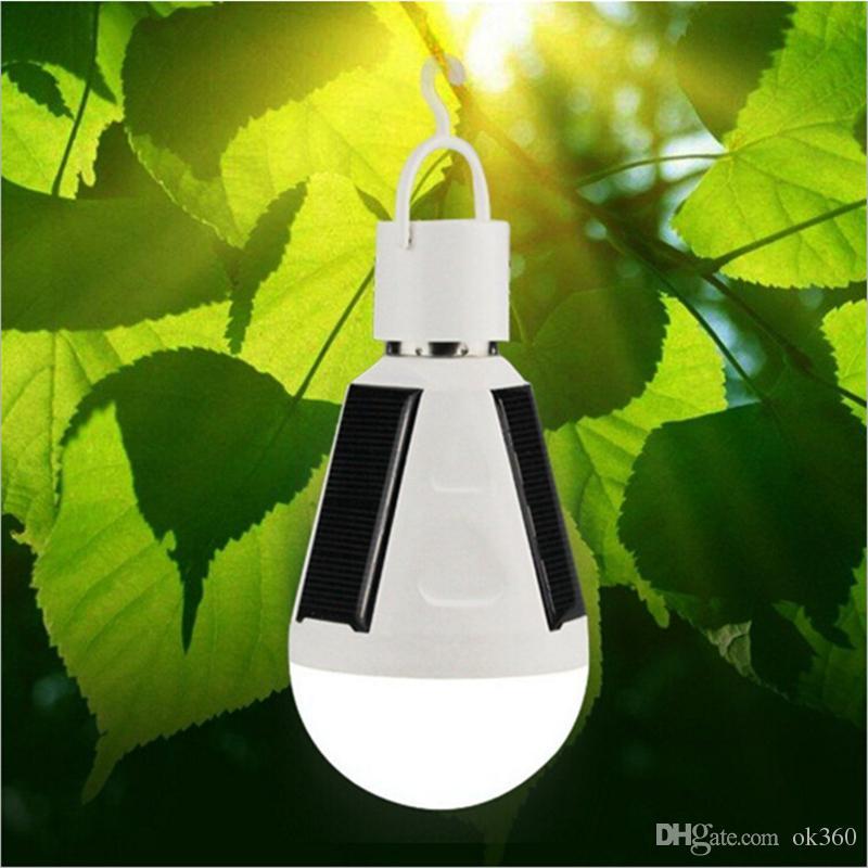 7 W Solar Lâmpada Inteligente Alimentado Portátil Lâmpada LED Bulbo de Energia Solar levou Iluminação Painel Solar Camp luz de viagem Usado