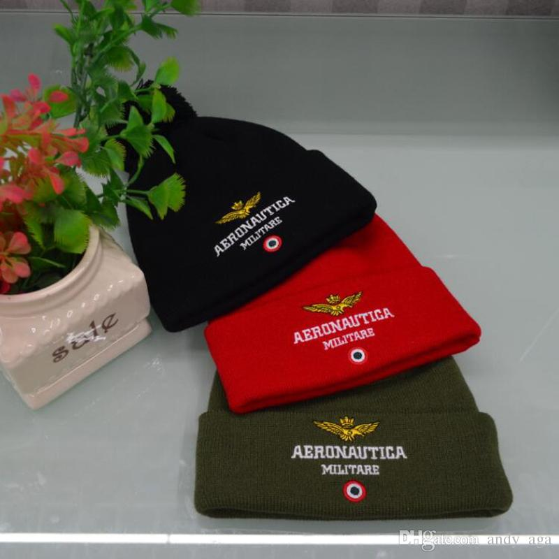 Beanie wool knitted men women Caps hats Air force embroidery Skullies warm Beanies Unisex