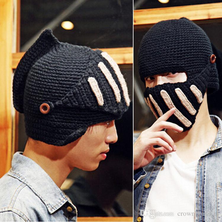 Fashion Unisex Crochet Knit Beanie Ski Roman Knight Hat Gladiator Mask Wool Cap