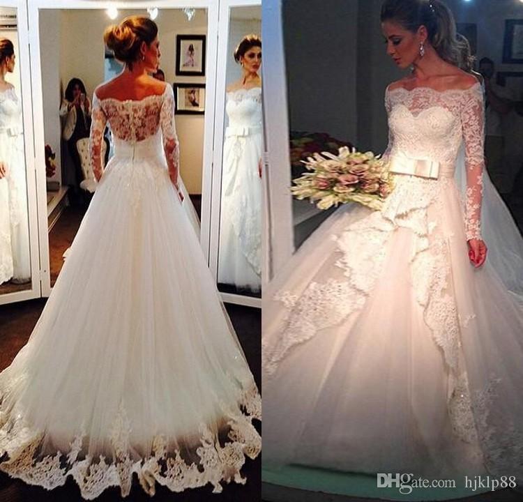 Elegant Off Shoulder Lace Wedding Dresses With Long