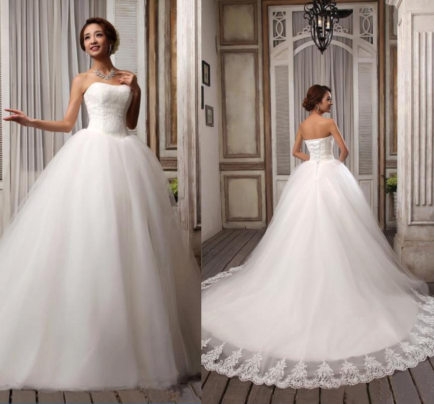 Sell Your Wedding Gown: Hot Sell Elegant Popular Ribbons Strapless White