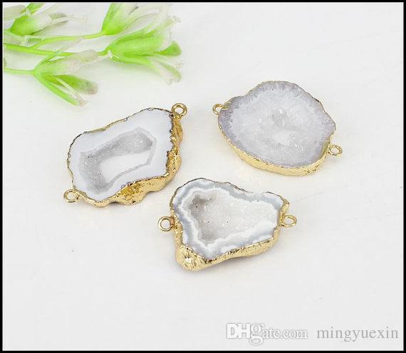 5шт Druzy Geode Агат ломтик разъемы, позолоченные края Geode Агат кулон в белый цвет, для изготовления ювелирных изделий