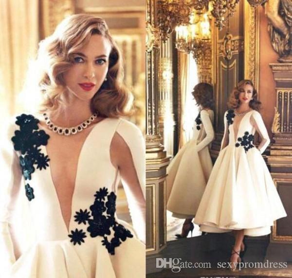 Elegant White Long Sleeve Evening Dresses Sheer Neck Black Lace Applique Satin Puffy Tea Length Arabic Prom Cocktail Dresses Formal Wear