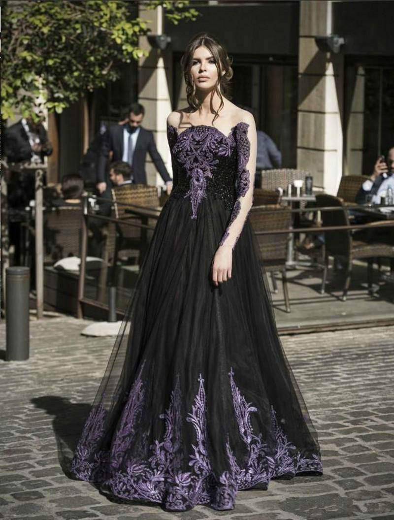 Gothic Black Spring Prom Dresses Sale Maniche lunghe Perline di cristallo viola Una linea di Tulle lungo abito da sera formale le signore