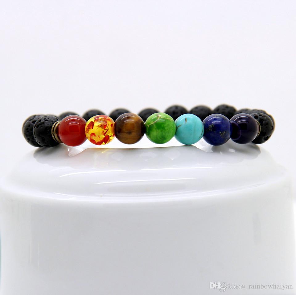 الجملة أفضل نوعية حبات الحجر الأسود الحمم مع الرواسب ، حجر عين النمر تمتد النساء الرجال أساور الطاقة اليوغا هدية