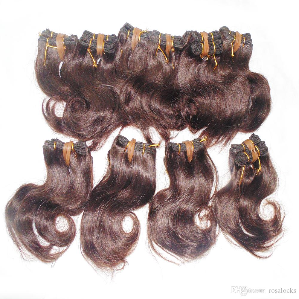 Big order Wholesale Many Hairs Collection Brazilian wavy hair 8 inch Color Brown Double Wefts Fast DHL service