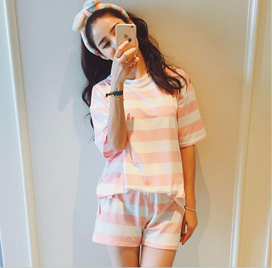 57e12509cc 2019 Wholesale Factory Outlets Casual Striped Pajamas Sets Round Neck Short  Sleeve Pyjamas For Women Summer Nightwear Cozy Milk Wire Sleep Suit From  Erzhang ...