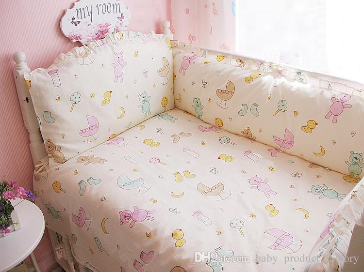 Promotion! Baby crib bedding set 100% cotton bedclothes bed decoration bumpers+sheet+pillow cover