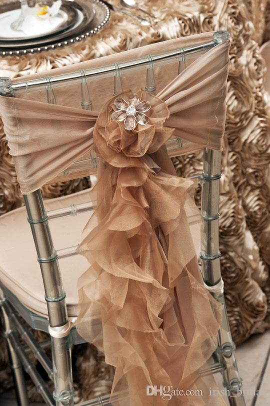 2016 Organza Ruffles Wedding Chair Sashes Vintage Romantic Chiffon Chair Covers Floral Wedding Supplies Luxurious Wedding Accessories 02