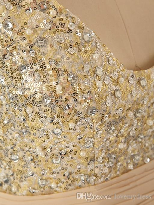 Bling Bridesmaid Dresses 2020 Sequin Crystals Pearls Cheap Price V Neck Zipper Back Sleeveless A Line Style Fashion Design Long Prom Shiny