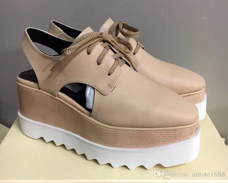 Stella McCartney Оксфорды Обувь Женщины Дышащие Квартиры Обувь Платформа Гладиатор Сандалии Кожа Rihanna Лианы Обувь С Оригинальной Коробке