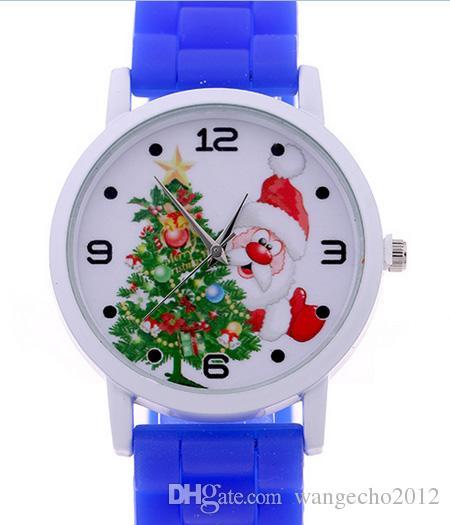 Mais recente fábrica barata atacado dos desenhos animados pulseira de borracha de silicone papai noel natal relógio para meninos meninas presente de ano novo frete grátis