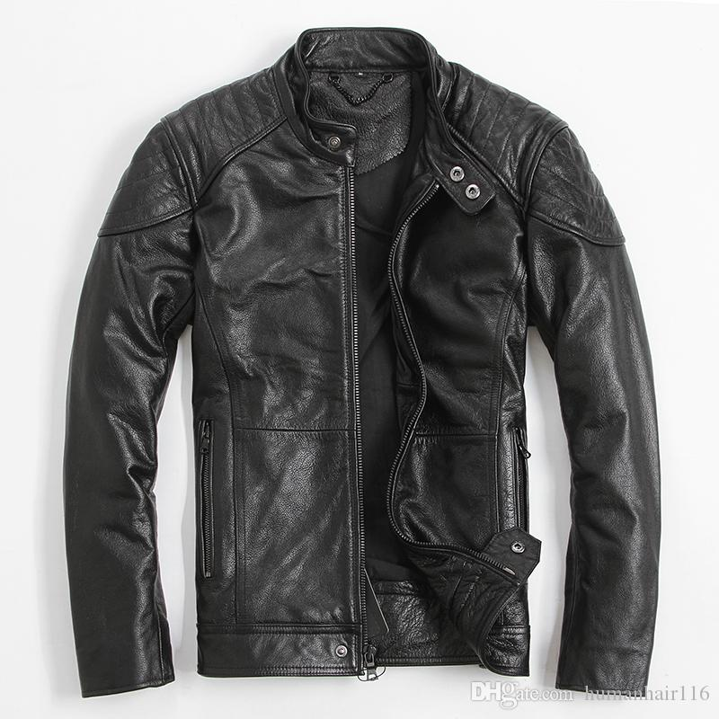 acb786aa3 2018 Black Men Slim Fit Biker Leather Jacket Plus Size XXXL Genuine Cowhide  Russian Short Leather Motorcycle Coat FREE SHIPPING