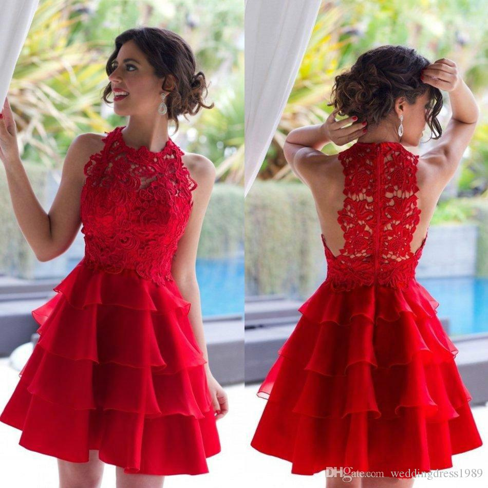 b7394d96d1e8e Charming Lace Tiers Red Homecoming Dresses Chiffon Sheer Sleeveless A-Line  Mini Knee Length 2018 Short Prom Dress Cocktail Party Club Wear