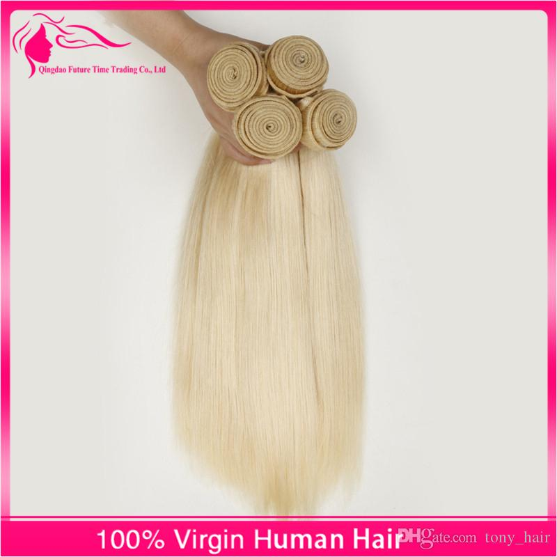 Russian Blonde Human Hair Weave Pure Color #613 Platinum Bleach Blonde 9A Russian Silky Straight Human Hair Weave Bundles