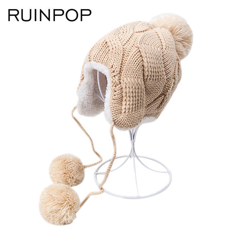 RUINPOP 2017 Cute Winter Hat Cotton Warm Cap Crochet Warm Knit Hat For Boy  Girl Fashion Winter Cap Skullies Beanies Kid Hat Cap Winter Hats Bonnet  Beanies ... e8338a79ecef