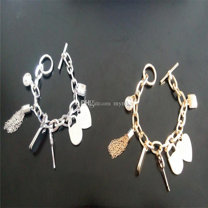 New York Fashion Brand High Quality 7 pendants charm bracelets padlock Key love crystal charms bracelet jewelry for men women