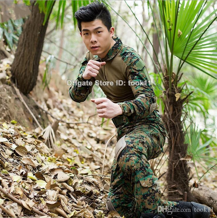Cs go men military uniform clothing army multicam combat shirt + tactical pants + knee pads highlander camo camouflage fatigues woodland