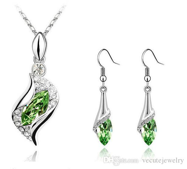 New Fashion 18K White Gold Plated Love Angel Eye Crystal Necklace Earrings Jewelry Sets for Women Made With Swarovski Elements Wedding Sets