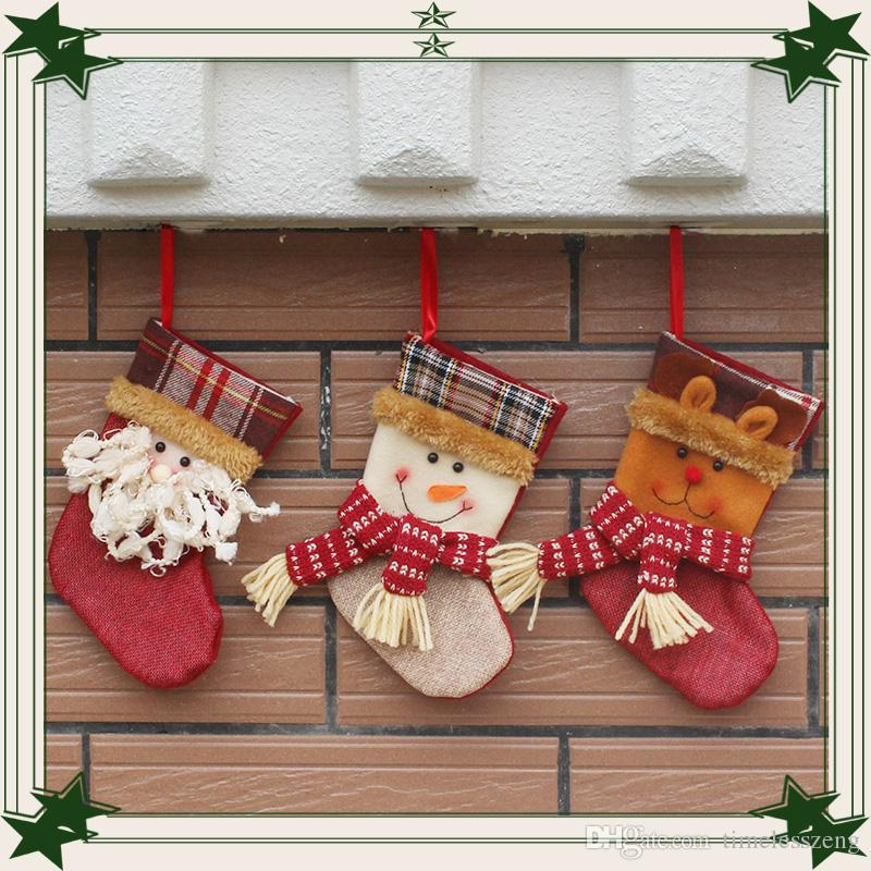 2016 Christmas Stockings Decorations Santa Snowman Deer Stocking Xmas Home Decorations 19cm Hight Best Gifts for Christmas