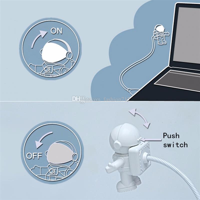 휴대용 독서 유연한 우주인 우주 비행사 USB 튜브 ABS + PC 미니 LED 나이트 라이트 화이트 램프를위한 컴퓨터 노트북 PC 노트북