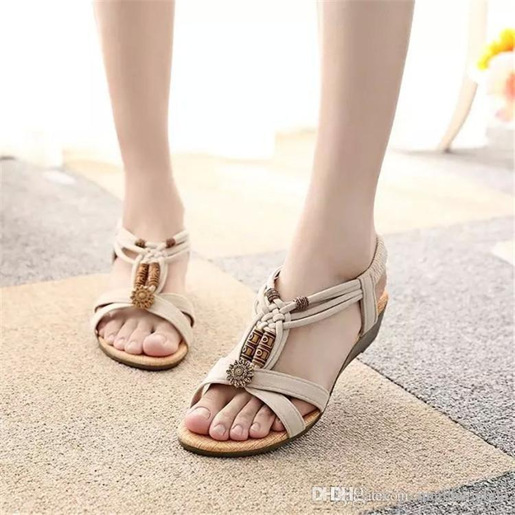 3b9221531ce2e4 Large Size Women Summer Wedge Shoes Brand Bohemia Style Beaded Sandals Open  Toe Black Flip Flops Shoes 1503 Shoes Uk Flat Sandals From Mei hairstyle