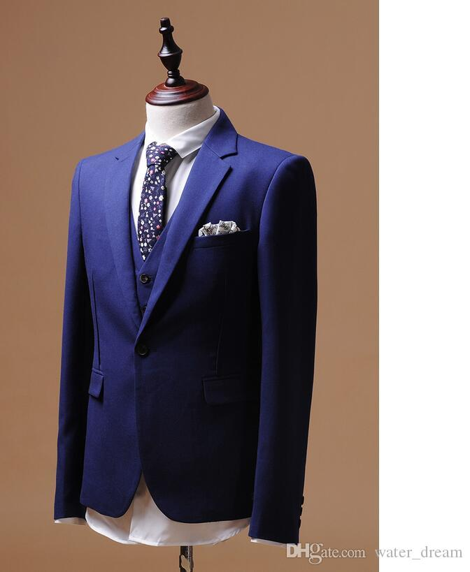 New style men formal dress high quality customized dark blue best man suit delicate ball gown three-piece suit jacket + pants + vest