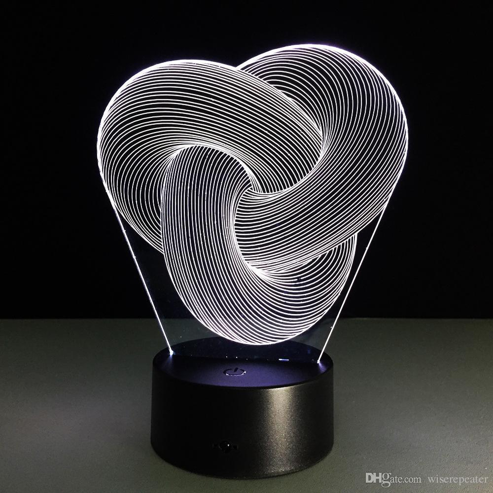 2017 2017 Love Knot 3d Optical Illusion Lamp Night Light Dc 5v Usb ...