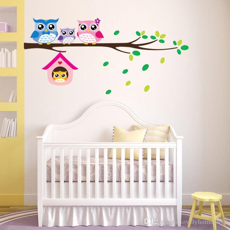 Hiboux Arbre Branche Amovible Autocollant De Vinyle Decal Enfants Nursery Decor Mural Art