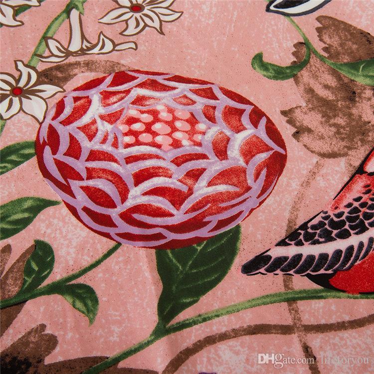 Vintage Silk Printing Scarf Kerchief fashion Scarves women ladies top grade muffler long Chiffon Flower and House Bandanna Wrap Shawl