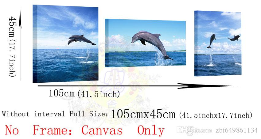 2016 new arrival especially provide more group painted canvas dolphin 3 beautiful panoramic jumping canvas