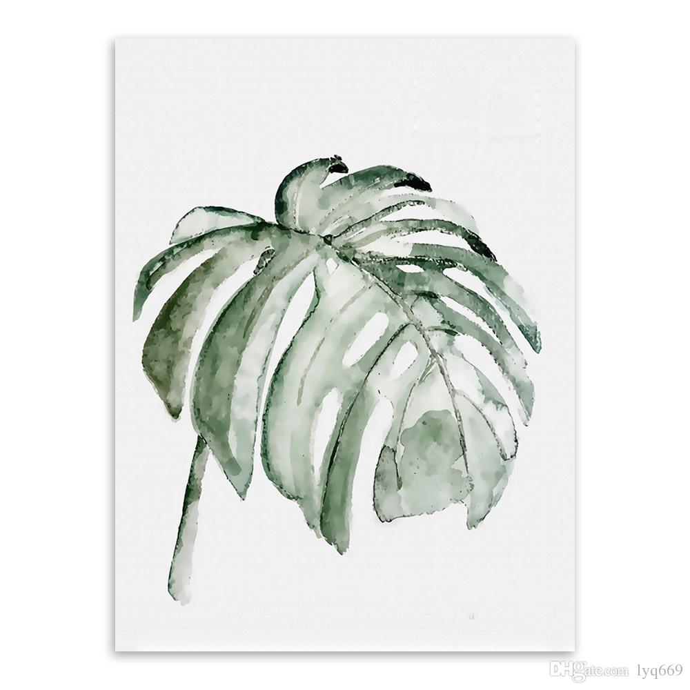 Nordic Minimalist Watercolor Green Plant Leaf Posters Living Room Wall Art Canvas Painting Home Decor Print Pictures No Frame