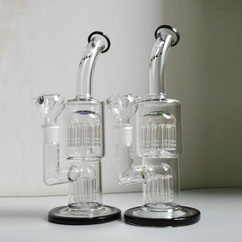 """Toro Thick Beaker Bong Recycler Dab Oil Rigs 11""""inch 7 Arm to 13 Arm Tree Perc Water Pipes Bent Neck Hookahs Pipes"""