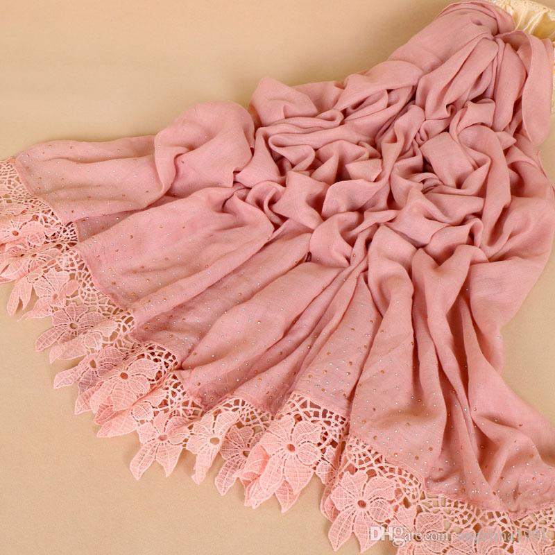 Fashion lace floral diamond luxury cotton scarf design hijab ladies muslim autumn Muffler wrap scarves/scarf