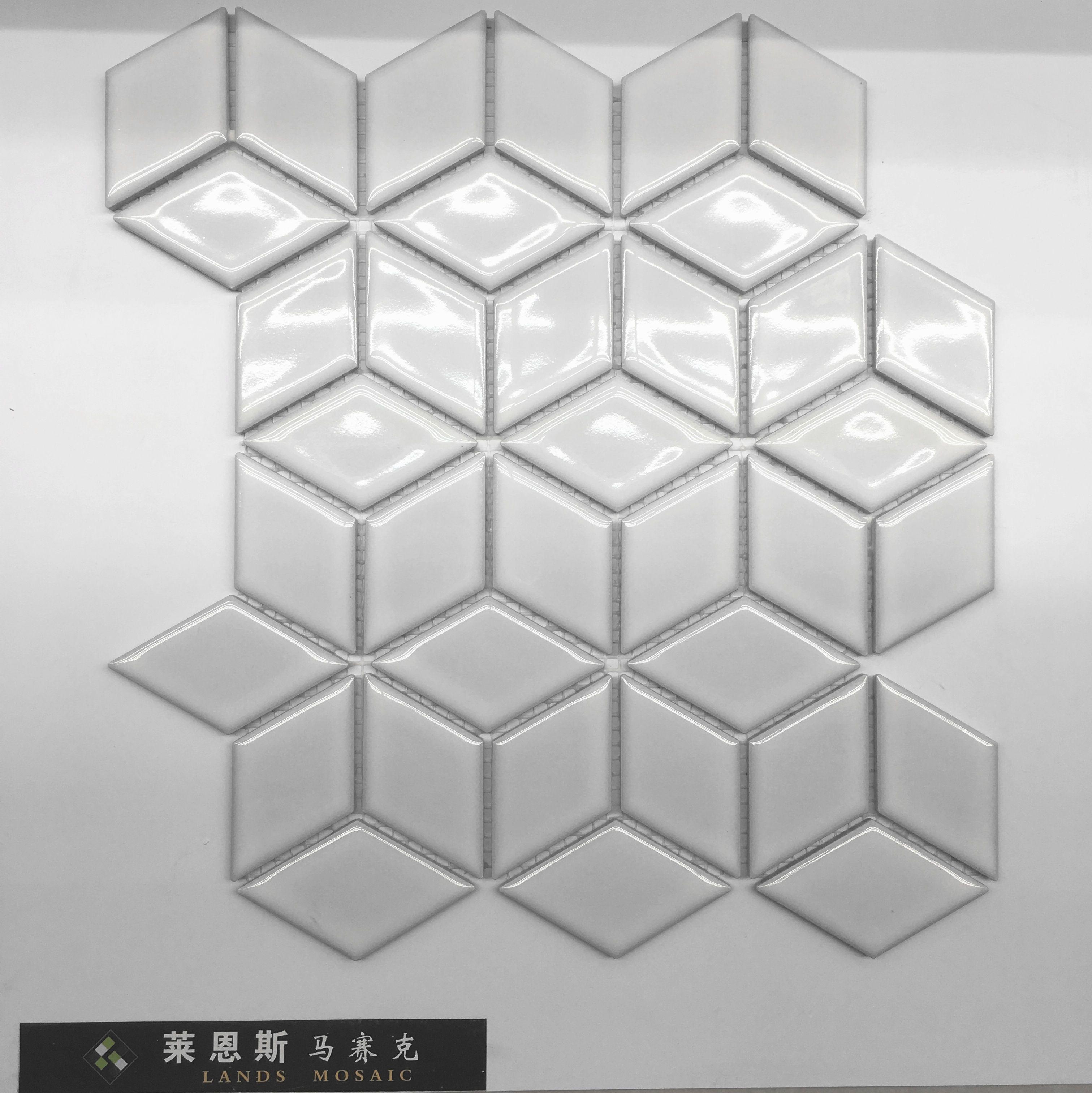Großhandel 3d Weiß Glänzend Porzellan Mosaikfliesen, Diamant Wand ...