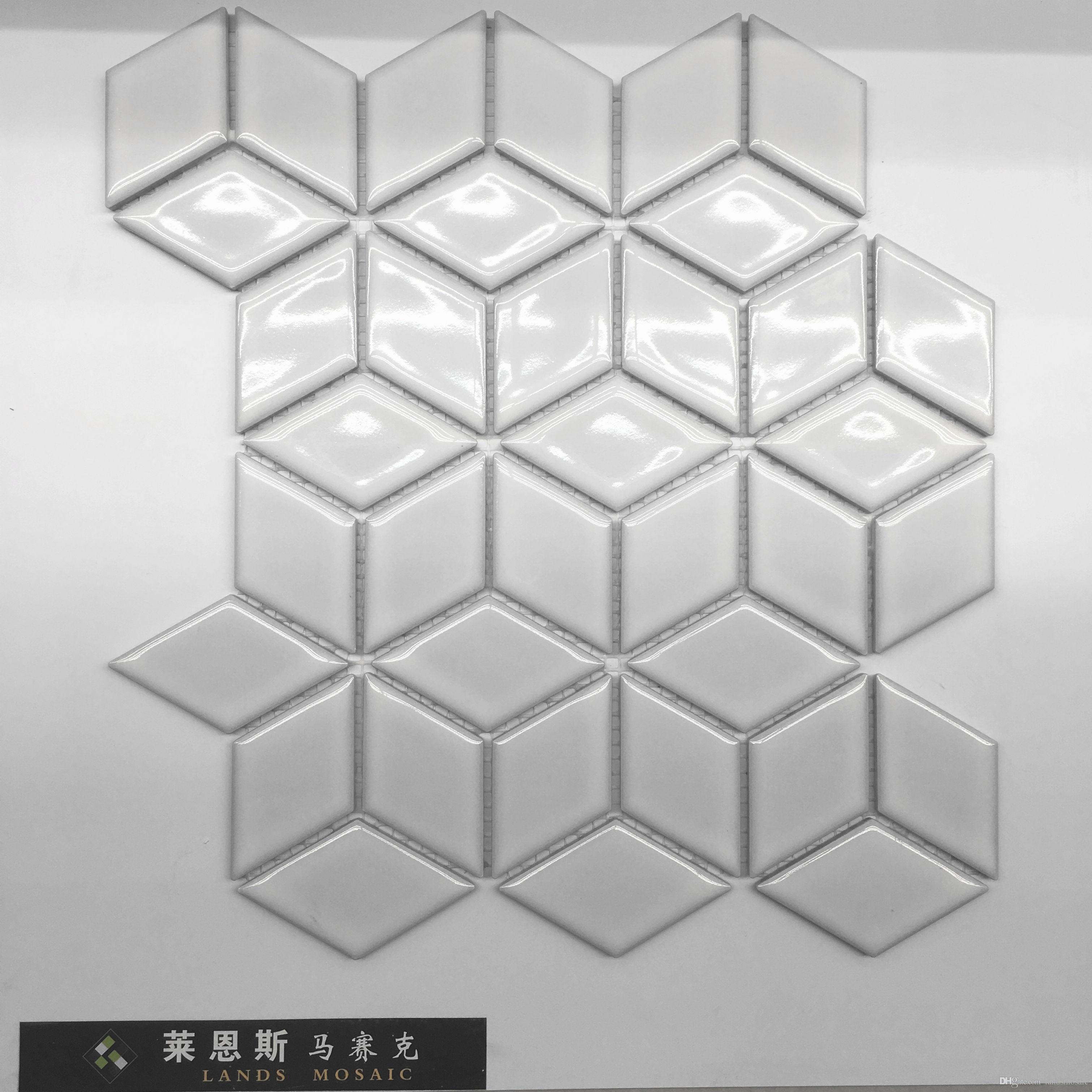 Compre Baldosas De Mosaico De Porcelana Brillante Blanco 3d, Diseño ...