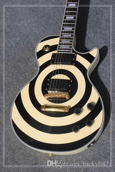 Custom Shop Zakk Wylde bullseye Dark Olive Yellow Black Guitarra eléctrica EMG Pastillas Flame Maple Neck Gold Hardware Tradition Tulip Tuners