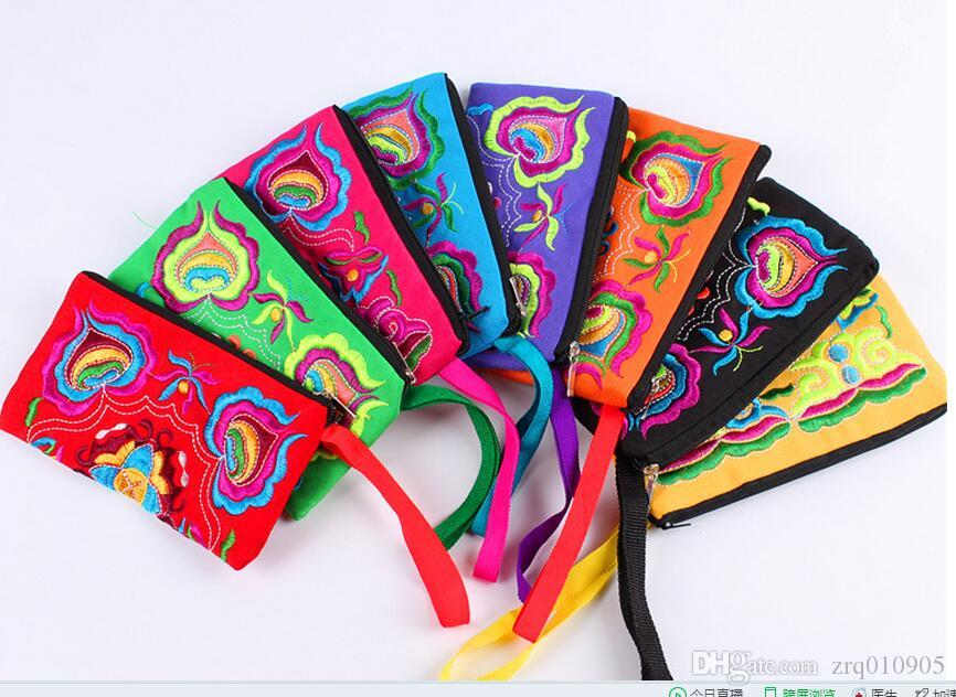 National Wind embroidered wallets, key cases, Ms. embroidery, hand embroidery phone bag, handmade canvas handbags, hand bag wholesale
