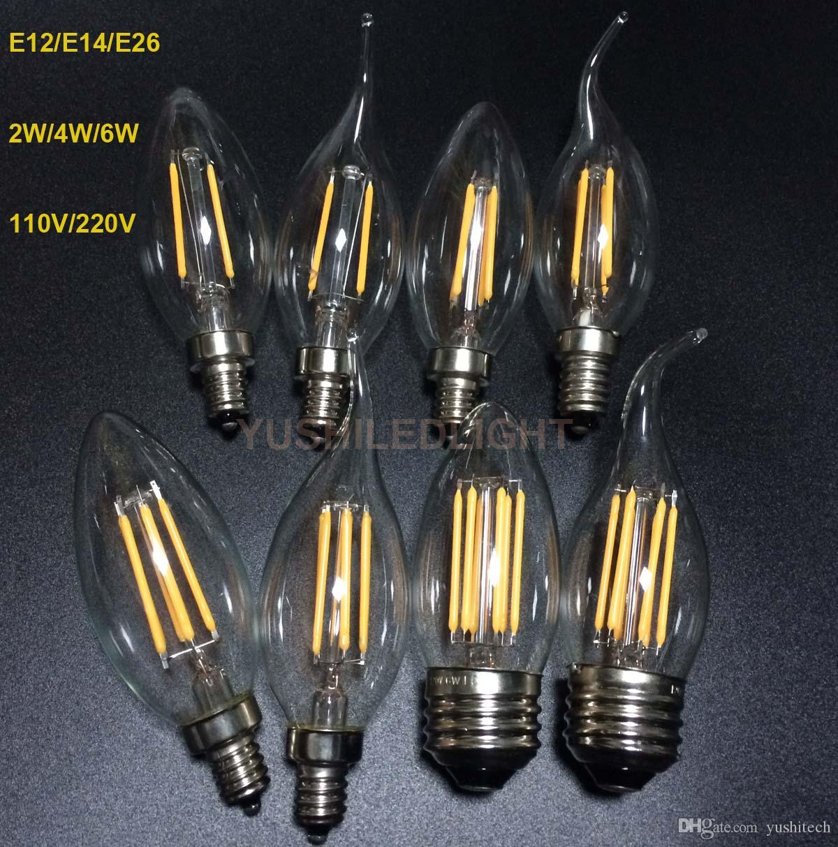 E12 e14 e26 base dimmable 246w led filament candelabra bulbs 110lm e12 e14 e26 base dimmable 246w led filament candelabra bulbs 110lmw 2700k 110v 220v c35 bullet top c35t bent tip cob bulb ceul approval led candelabra arubaitofo Images