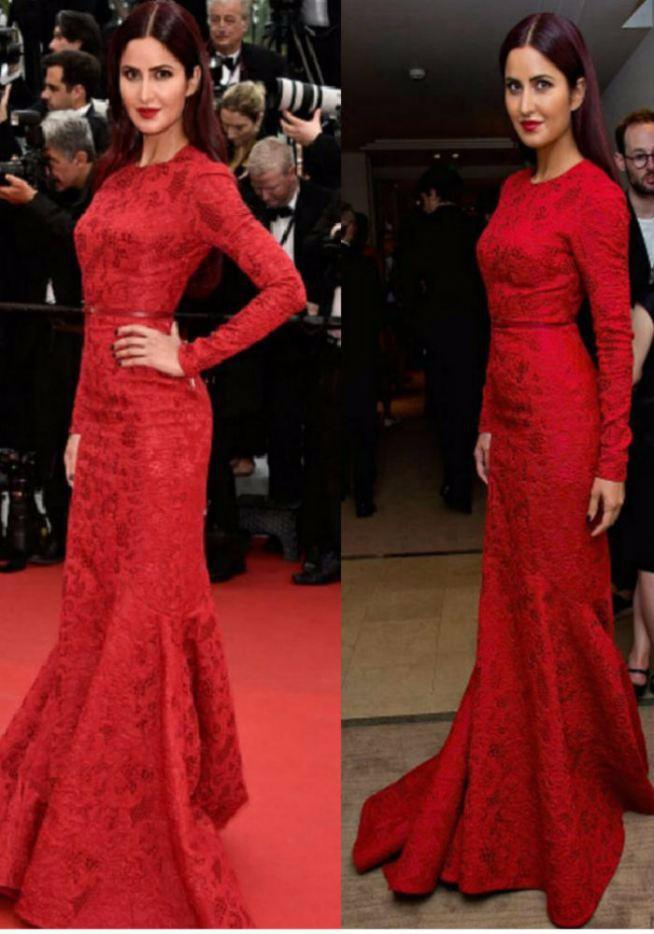 Sexy Katrina Kaif Red Long Sleeve Mermaid Lace Sheath Evening Dresses Celebrity Dress Cannes Festival 2018 Evening Gowns CD11