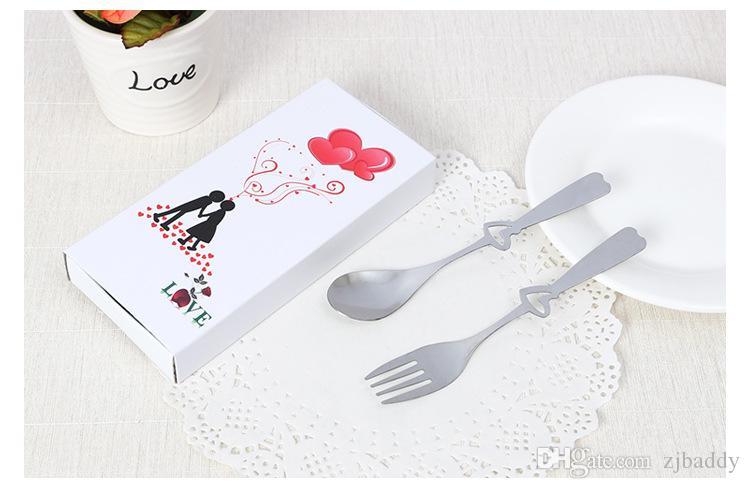 هدايا الزفاف الجدول الهدايا التذكارية الفولاذ المقاوم للصدأ أدوات المائدة على شكل قلب الحب شوكة ملعقة الحدث الحزب لوازم 60 مجموعات / وحدة