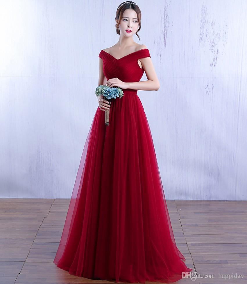 2017 Chic Red Carpet Off The Shoulder Tulles Red Evening Gowns ...