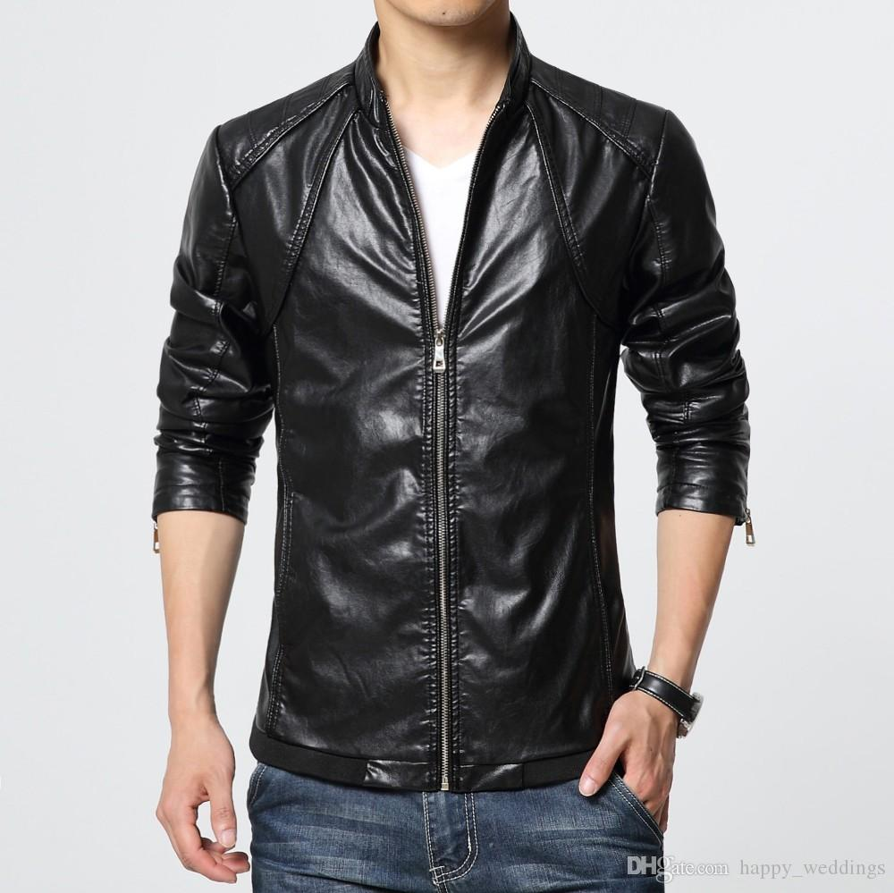 Men Leather Jackets And Coats Red Black Blazer Top Man Leather ...
