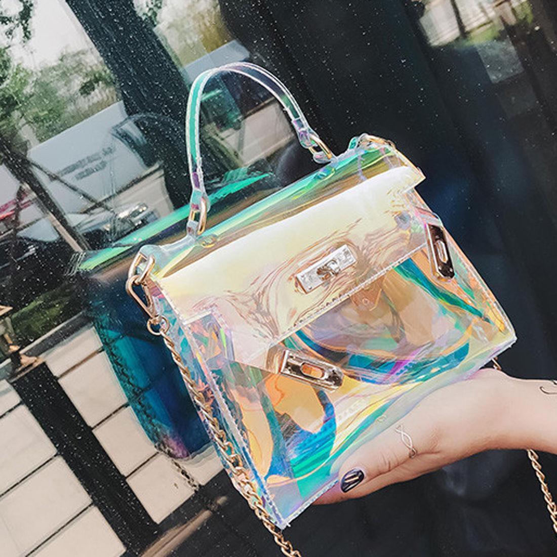 New Womens Fashion Clear Tote Messenger Cross Body Shoulder Jelly Bag  Handbag Laser Handbag Handbag Sale Side Bags From Fashion710 8b484502a3095