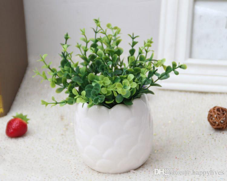 냄비에 인공 선인장 꽃 식물 홈 장식 정원 녹색 보라색 선인장 식물 플라스틱 선인장 장식 선인장 다육 식물