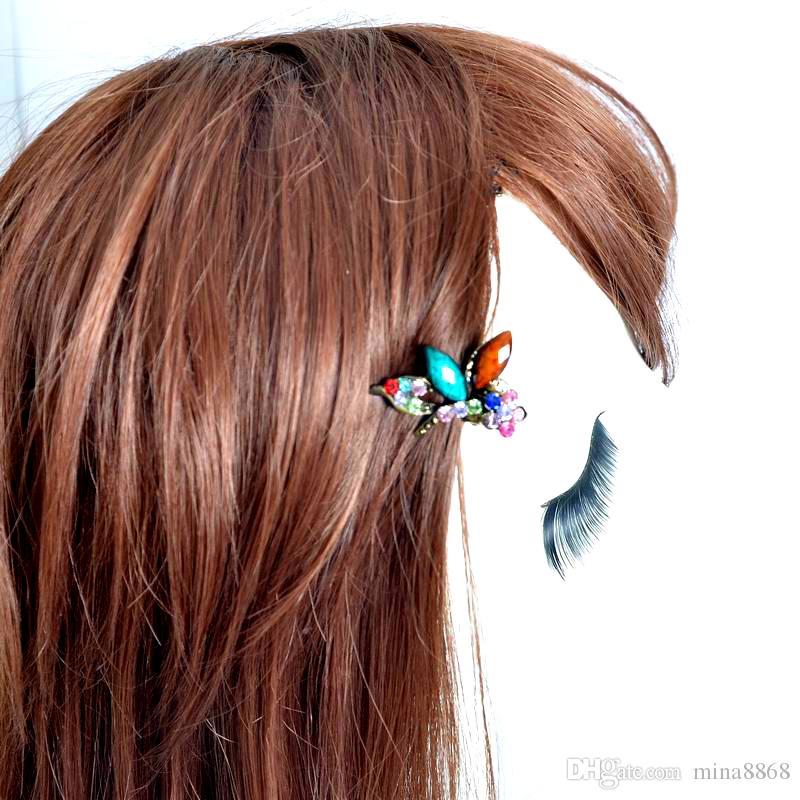 새로운 패션 미니 헤어 쥬얼리 빈티지 다채로운 크리스탈 라인 석 잠자리 헤어 클립 발톱 여자를위한 헤어 액세서리 선물 DHF235