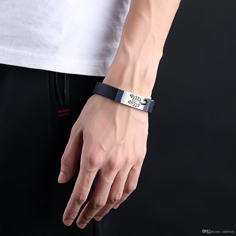 Braccialetto del polsino del silicone dei braccialetti di Scorpion dell'acciaio inossidabile unico i ragazzi Regalo sportivo dei gioielli del braccialetto dei polsini sportivi degli uomini