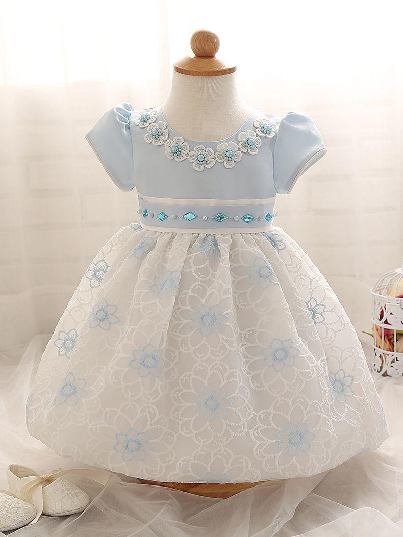High-grade Newborn Baby Girl Clothes New brand Flower With Peals Princess Wedding Gown Dress Toddler Girls Kids Children Clothes