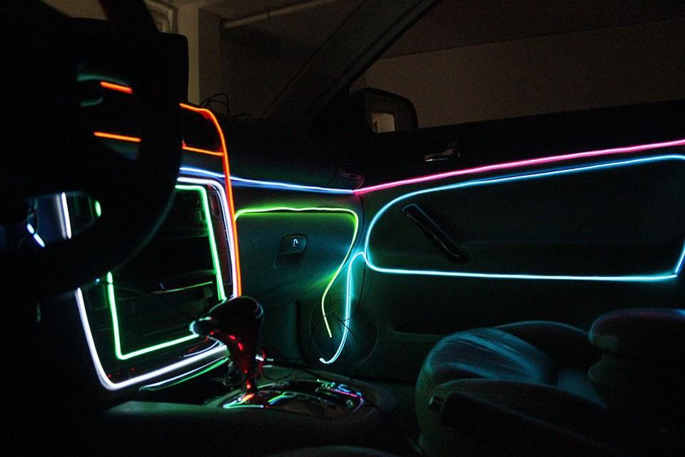 Ar Lights Interior Lights Colorful Flexible El Wire Internal Cold Neon  Light For Car/Party Decoration 3m Electroluminescent Car Accessori.