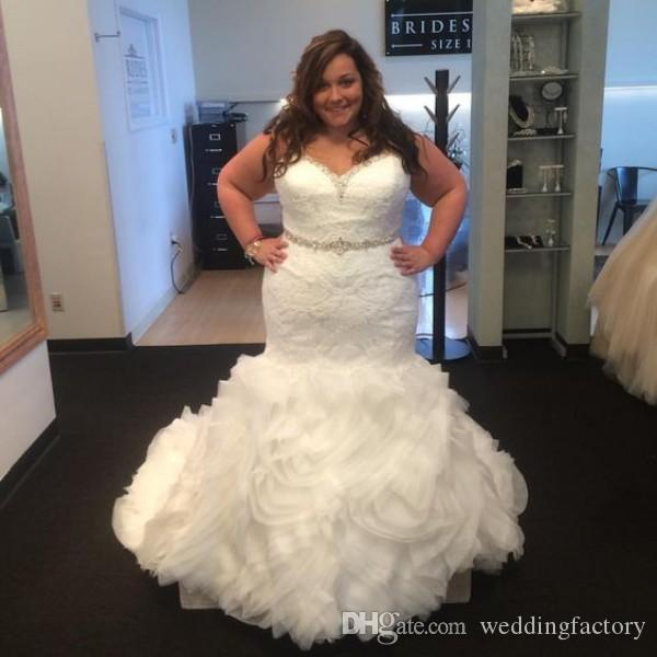 Elegant Plus Size Wedding Dresses 2016 Mermaid Trumpet Bridal Gowns Crystals Beaded Sweetheart Neckline Strapless Lace Ruffled Skirt Curve
